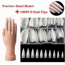 Flexible Practice Training Fake Hand Model & Display + 100Pcs Natural Nail Tips