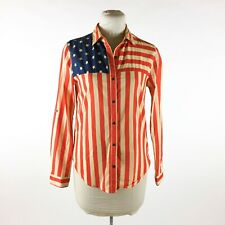 Nollie American Flag Red White and Blue Blouse Sz M Patriotic Fourth of July