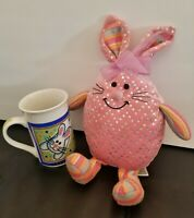 Pink Shimmer Egg Bunny Rabbit Stuffed Animal Plush & Easter Bunny Coffee Mug