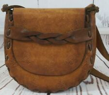 Vintage Leather Hand Tooled Shoulder Bag Cross Body Purse Braided Leather Accent