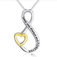 Love You Always et Forever ventre doré cœur chaîne pendentif argent 925