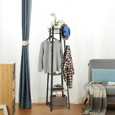 Industrial Coat Rack Entryway Clothes Laundry Coat Stand With 8Hooks 3-Shelves