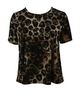 Womens New Plain Black Printed Sparkly Silver Polka Short Sleeve Tops Bnwt *LICK