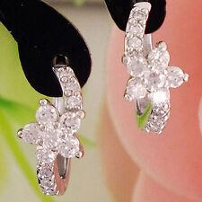 Women's Cubic Zirconia Flower Silver Plated  Huggie Earrings Jewelry