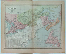Original 1877 Map of  Eastern Canada by J. Bartholomew
