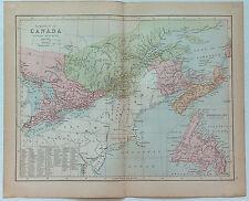 Original 1877 Map of  Eastern Canada by J. Bartholomew