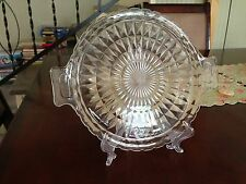 Vintage Clear Glass double Handled Cake Plate by Jeanette - Windsor Pattern-