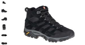 Merrell Moab 2 Vent Ventilator Mid Black Night Hiking Boot Men's sizes 7-14 WIDE