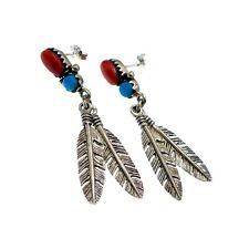 Sterling Silver Native American Turquoise and Red Coral Feather Earrings