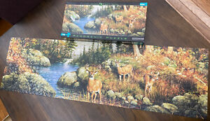 Panoramic Puzzle 750 Pieces Deer and Pines Nature Over 3 Feet Long Hautman Rare