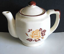 Vintage Ceramic Off White Tea Pot w Brown Trim Rose 8 sides Free Sh
