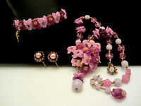Rare Vintage Signed Miriam Haskell Purple Flower Necklace Bracelet Earring Set