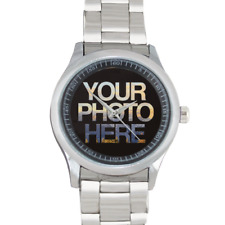 Personalised Stainless Steel Watch Unique Gift Box Idea For Men Add Custom Photo
