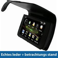 Schwarz Echtes Leder Tasche für Archos 5 160 500gb Internet Tab Hülle Case Etui