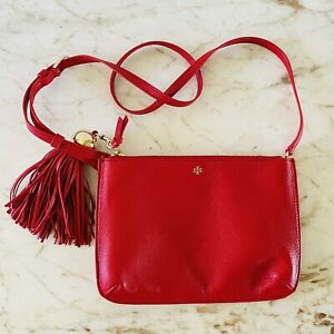 TORY BURCH Solid Red Soft Leather Tassel Small Crossbody Bag
