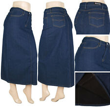 NWT Women XS-S-M-L-XL PENCIL Long Skirt Stretch Denim Flannel lined SG-85263A