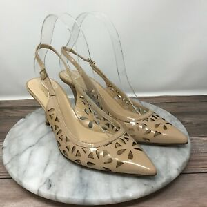Kate Spade Jacey Nude Cut Out Patent Leather Slingback Heels Womens Size 7.5