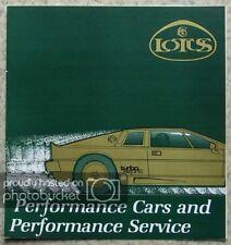 LOTUS PERFORMANCE CARS UK MAIN & SERVICE DEALERS Directory Brochure 1986