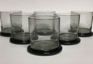 Modern Smoky Wide Bottom Tumbler Old-Fashioned Glasses Set of Six 3.5""