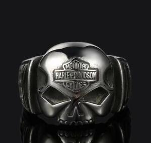 Harley Davidson Biker Ring Unisex Skull Emblem Silbern Schmuck 8-14 NEU