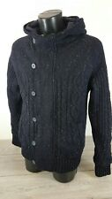 Firetrap Knitted Jacket Hooded Zipped Buttons Heavy Mens Navy Coat Small  B141