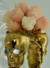 ONE OF A KIND Georgian  MEMENTO MORI SKULLS 18k Gold&Diamonds&coral roses ring