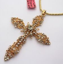 beautiful golden big cross necklace Betsey Johnsons new shiny crystal