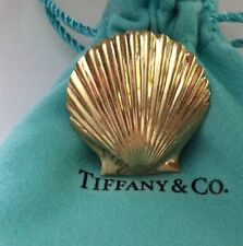 Tiffany & Co Mid Century 14K Yellow Gold Scallop Shell Pin Brooch. Great Clasp.