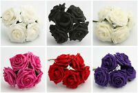 10cm Foam Roses - Bunch of 5 Artificial Wedding Bouquet Colourfast Flowers Stems
