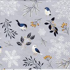 4x PAPER NAPKINS for Decoupage CHRISTMAS BIRDS & TWIGS Silver Background Birds