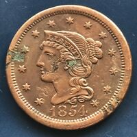 1854 Large Cent Braided Hair One Cent 1c Better Grade  #9162