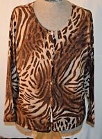 JONES & CO WOMENS ANIMAL PRINT SWEATER SIZE 3X FREE SHIPPING