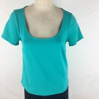 Torrid 00 women's shirt size large teal blue knit stretch short sleeve Keyhole