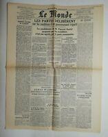 N750 La Une Du Journal Le Monde 4 mai 1945 les partis délibèrent
