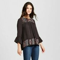 Knox Rose Women's Embroidered Bell Sleeve Peasant Blouse S