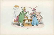 GRANDVILLE antique Lithograph print Metamorphoses Dressed fly chicken lady