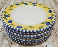 "Set of 7 Pier 1 Palermo Salad Dessert Plates - 7 7/8"" Earthenware Hand-painted"
