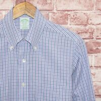 Brooks Brothers Men's MILANO fit Button Down Shirt Blue Purple Sz 14 1/2 - 32