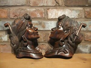 Mid-Century Pair of Wood Carved Igorot Philippines Bust with Pipes Plaques