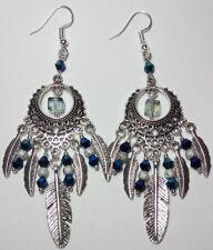 Dream catcher earrings feathers boho spiritual dangle chandelier