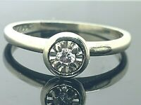 Engagement Ring 0.05ct Diamond 14k White Gold Estate Jewelry Women's Size 7.25