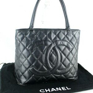 CHANEL Medallion CC Logos Matelasse Quilted Caviar Skin Leather Tote Bag Black