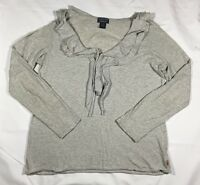 Women's Polo Jeans Company Heathered Gray Ruffle Knit Long Sleeve Top-Size XL