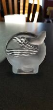 Partylite Candle Holder - Whale ~ Clear & Frosted Glass Tea Light Holder