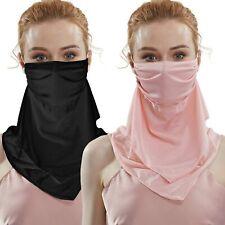 2 Pack Women Sun Mask Ice Silk Fabric Neck Gaiter Sun Proof Face Mask Colorful F