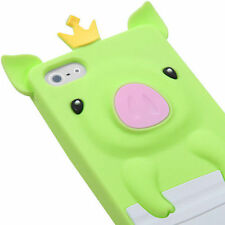 For iPhone SE 5S - SOFT SILICONE RUBBER CASE COVER GREEN WHITE BABY CROWN PIG
