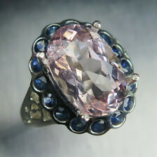 4.40cts Natural pink morganite & sapphires 925 Sterling Silver engagement ring