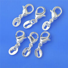 925 Silver Jewelry Findings Lobster Clasp+Jump Rings Connector Components 50PCS