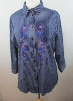 ALIA Womens Button Down Shirt Top, Size 14, Embroidered Floral, Striped, C410