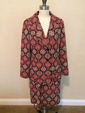 Vintage Skirt suit 1970's Retro Rockabilly diamond metallic Polyester knit